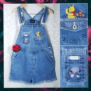 Vintage 90s Disney Pooh Bear Denim Cutoff Overalls